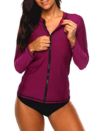 ATTRACO Ladies Rash Guard Shirt Sun Peotect Zipper Solid Long Sleeve Swim Shirt XXL