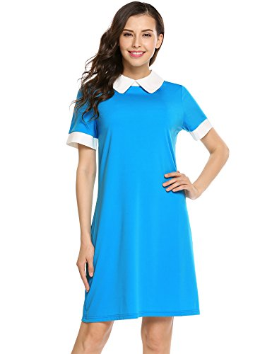 Womens Peter Pan Costume Pattern (ANGVNS Women's Formal Perter Pan Collar Short Sleeve Slim Patchwork Casual Business Fit Flare Dress)