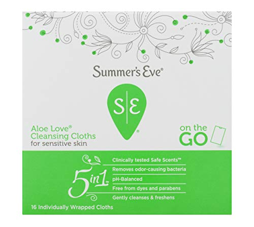 Summer's Eve Cleansing Cloths | Aloe Love |16 Count | Pack of 12 | pH-Balanced & Gynecologist Tested (Sweet Summer Aloe)
