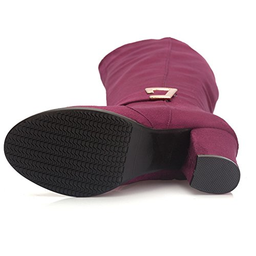 414 Stiefel Damen Coolcept Weinrot Blockabsatzschnalle Klassische Kniehohe Zip nfYFaq