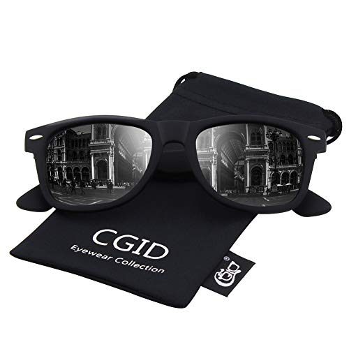 fe65270076 CGID Classic Polarized Sunglasses 80 s Retro Horn Rimmed Unisex Men Women