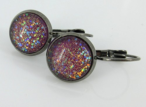 Hematite-tone Plum Berry Purple Glitter Glass Lever-back Drop Galaxy Earrings Hand-painted