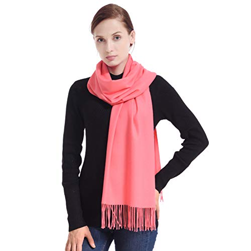 LERDU Ladies Gift Idea Cashmere Pashmina Scarf Fashion Warm Wool Wrap Shawl Winter Stole for Women Coral