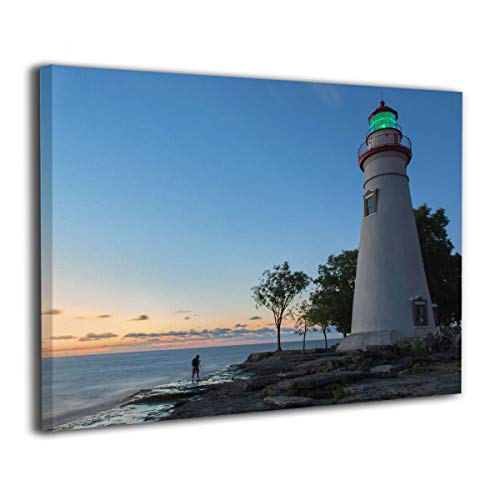 Okoart Canvas Wall Art Prints Marblehead Lighthouse Sunrise -Picture Paintings Modern Decorative Giclee Artwork Wall Decor-Wood Frame Gallery Stretched ()