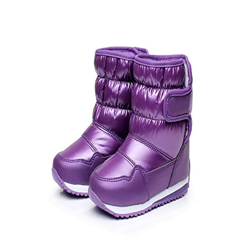 - Endand Rubber Boots for Girls Boys mid-Calf Bungee Lacing Snow Boots Waterproof Boot Sport Shoes Fur Kids Purple 11.5