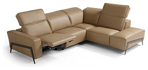 J&M Furniture Ocean Italian Leather Right Facing Sectional Sofa in Miele