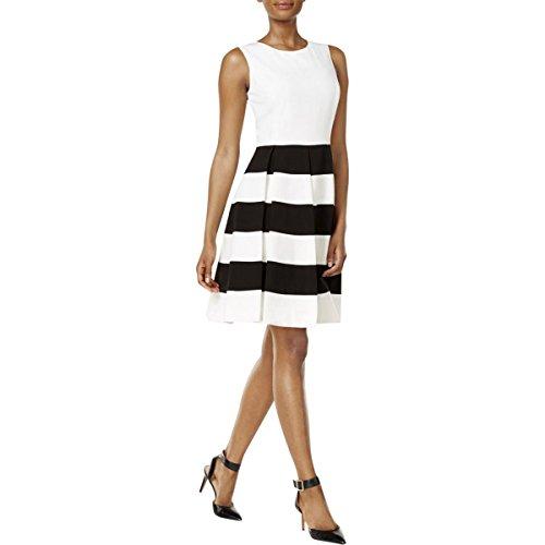 Box Pleats - Nine West Women's Sleeveless Dress with Box Pleat, Lily/Black, 12