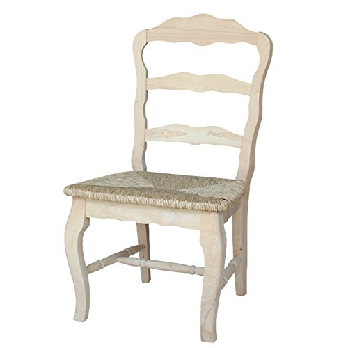 (International Concepts C-921P Versailles Side Chair with Rush Seat, Unfinished)