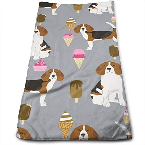 Beagle Ice Cream Dog Breed Summer Dessert Food Hand Towels Dishcloth Floral Linen Hand Towels Super Soft Extra Absorbent for Bath,Spa and Gym 11.8