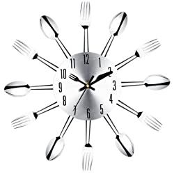 Stainless steel knife and fork spoon kitchen restaurant wall clock Home Decoration