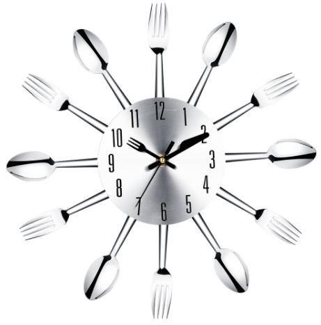 Stainless steel knife and fork spoon kitchen restaurant wall clock Home - Edinburgh Hours Outlet