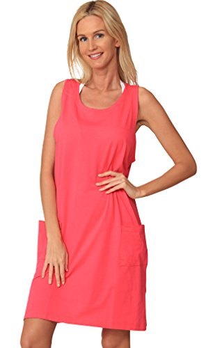 Ingear Cotton Dress Beach Casual Tank Summer Fashion White Cover Up Plus Size (XXLarge, Pink)