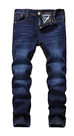 Fredd Marshall Boy's Blue Skinny Fit Stretch Slim Straight Fashion Denim Jeans Pants