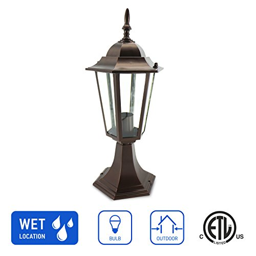 IN HOME 1-Light Outdoor Post Lantern L01 Series Traditional Design Bronze Finish Clear Glass Shade, ETL Listed