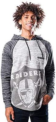 Ultra Game NFL Las Vegas Raiders Mens Embroidered Fleece Hoodie Pullover Sweatshirt, Raglan Gray Space Dye, La