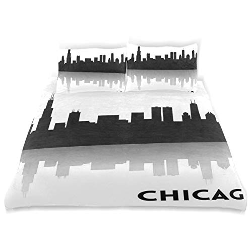 WINCAN Custom Made Duvet Cover Set, Downtown Skyscrapers Illinois Tourism Travel Country Urban Minimalist A Decorative 3 Pcs Bedding Set with Pillowcases, King