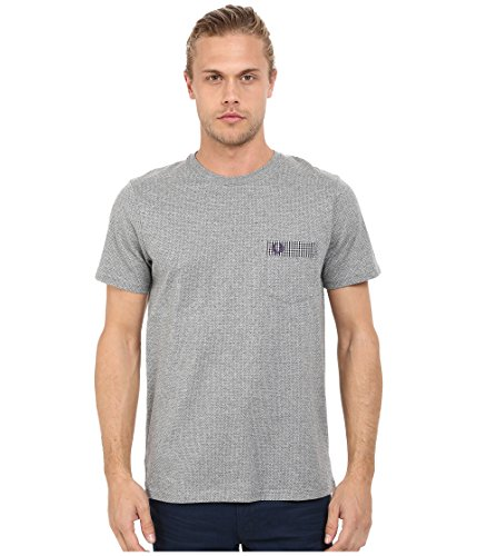Fred Perry Gingham Shirt - Fred Perry Men's Gingham Trim Polka Dot T-Shirt Steel Marl T-Shirt SM