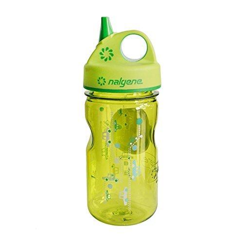 Nalgene Grip-N-Gulp Water Bottle (Spring Green Cars, 12-Ounce), 2 Pack