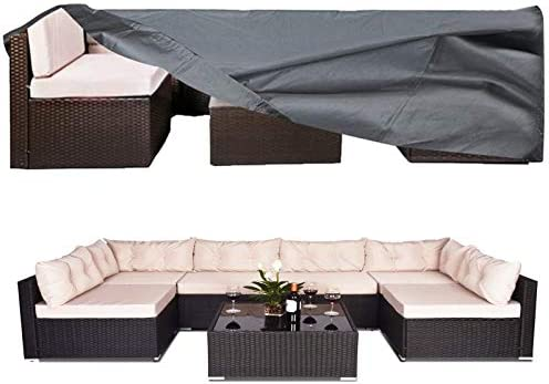 AKEfit 100% Waterproof Patio Furniture Cover, Fits 8-12 Seat, Anti-UV Snow-Proof Outdoor Sectional Furniture Cover, Rectangular Table Chairs Set Covers with Windproof Buckles Air Vents (126x63x28 in)