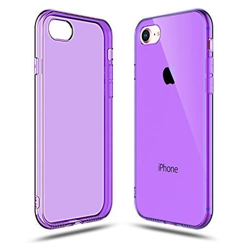 (Shamo's Transparent Shock Absorption TPU Rubber Gel Case (Purple) Compatible with iPhone 7 and iPhone 8)
