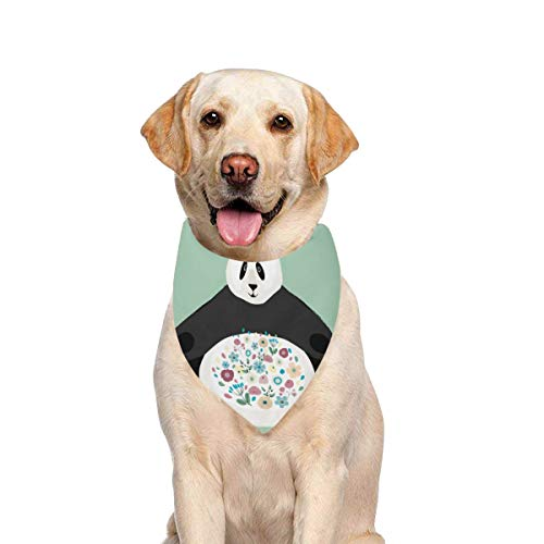 JTMOVING Dog Scarf Panda On Flowers Hello Printing Dog Bandana Triangle Kerchief Bibs Accessories for Large Boy Girl Dogs Cats Pets Birthday Party Gift