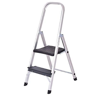 Giantex Aluminum 2 Step Ladder Folding Non-Slip with Handrail 330lbs Capacity Work Platform Stool