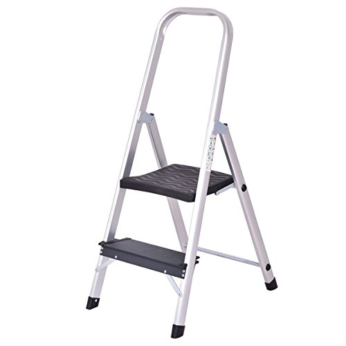 Two Step Folding Ladder (Giantex Aluminum 2 Step Ladder Folding Non-Slip with Handrail 330lbs Capacity Work Platform Stool)