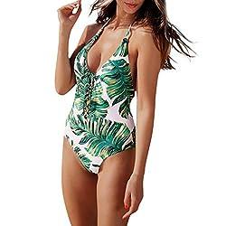 Jjliker Womens Sexy Leaf Print V Neck Lace Up Cutout One Piece Monokini Swimsuit Cross Beach Swimwear Bathing Suit Green