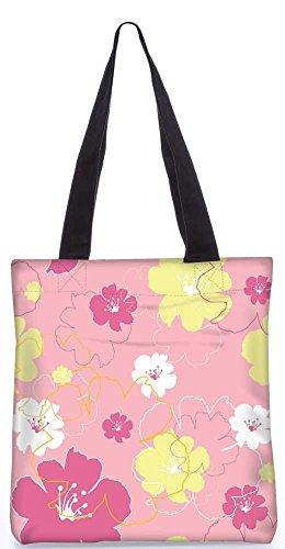 """Snoogg Rosa Blumen Tragetasche 13,5 X 15 In """"Einkaufstasche Dienstprogramm Trage Aus Polyester Leinwand"""