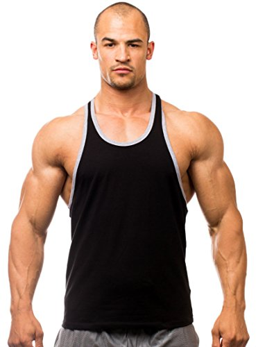 Iwearit Athletic Cotton/Lycra Workout Tank Top(Blk/Grey-M) With Contrast Trim