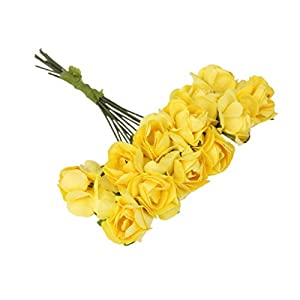 144pcs Artificial Paper Rose Flower Buds Mini Bouquet Party Decor- Yellow 3