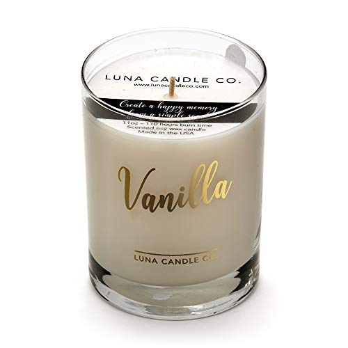 Luna Candle Co. Warm, Vanilla Scented Jar Candle, 11oz. Glass, Natural Soy Wax, Long Burning Up to 110 Hours of Burn Time, Aromatherapy, Handcrafted in The USA