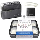 Bento Box with Bag and Ice Pack Set | 3 Compartment Meal Boxes and Insulated Matching Bags for Work or School | Containers for Teens Adults Boys Women | Grey Black Large Kit