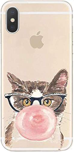 DECO FAIRY Compatible with iPhone XR, Cartoon Cute Animated Anime Cat Chewing Blowing Big Pink Bubble Gum Transparent Translucent Flexible Silicone Cover Case