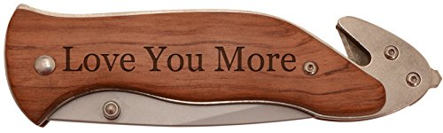 Rosewood Laser Pen (Husband or Boyfriend Gift Love You More Laser Engraved Stainless Steel Folding Survival Knife)