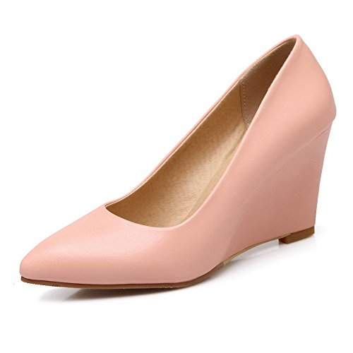 VogueZone009 Women's PU Pointed Closed Toe High-Heels Pull-on Solid Pumps-Shoes Pink KdA1Whks