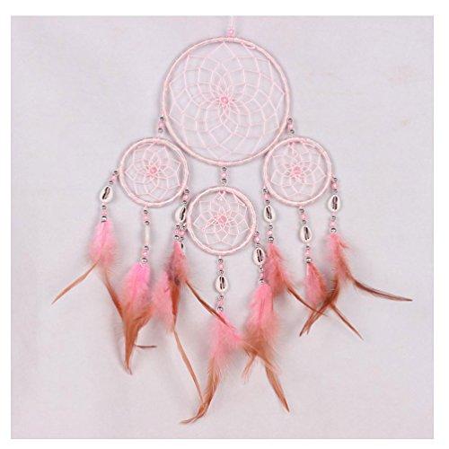 Bluestercool Neue Traumfänger kreisförmige Netz mit Federn Wandbehang Dekoration Dekoration Ornament Handarbeit Handwerk Geschenk (Rosa)