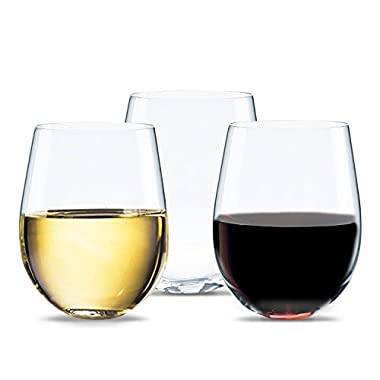 Unbreakable Plastic Wine Glasses – Reusable Stemless Acrylic Glassware
