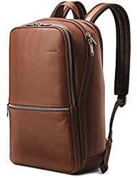 Classic Leather Slim Backpack, Brown, One Size