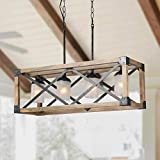 LALUZ Wood Kitchen Island Farmhouse Pendant Lighting Hanging Fixture for Dining Room, 5 Glass Globes, A02989