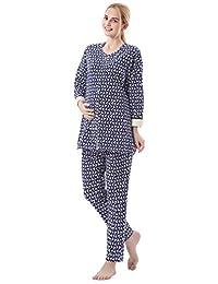 Niyatree Womens Cotton Long Sleeve Loose Nursing Striped Pajamas Set with Pants