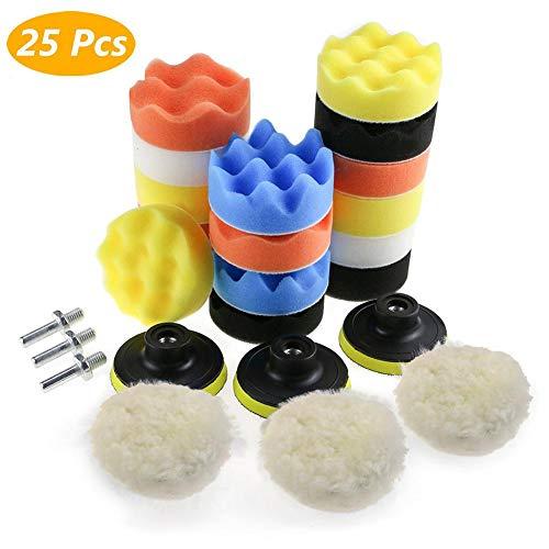 Juego de Almohadillas de Cera para pulir Pulido de Esponja de Pulido 25PCS 3', Adecuado para Taladro M10, Destornillador inalámbrico, pulidor y tornos