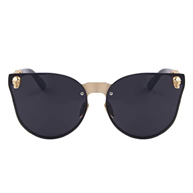 6efb39232 Amazon.com: Fashion Women Gothic Eyewear Skull Frame Metal Temple Oculos de  sol UV400: Clothing