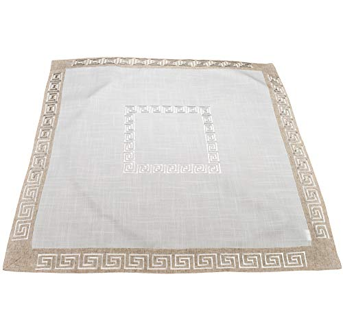 Linens, Art and Things Table Topper Dresser Scarf Small Tablecloth Neutral Earth Tones Greek Key 34 x 34 Inch (Border Table Topper)