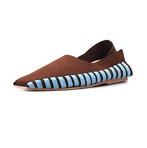 Casual 35 Plates Lace Chaussures BOTXV Femmes Manuel Chaussures Peas Chaussures Grande MATTECOFFEE Couleur Straps Croix Taille Up Automne IvvqTw0