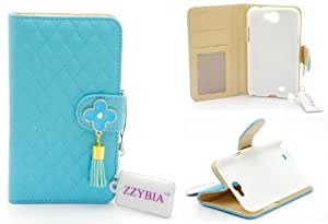 ZZYBIA® NOTE II QF b Light Blue Leatherette Stand Case Card Holder Wallet for Samsung Galaxy Note 2 II N7100 N7105