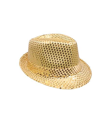 Mozzly Unisex Costume Accessories Sequin Fedora Hat, Glamorous, Flashing, Disco Retro, Funky, Sparkly, Luxurious, Fancy Novelty Party Costume Accessory for Dress-up, Theater Play for Men & Women, Gold