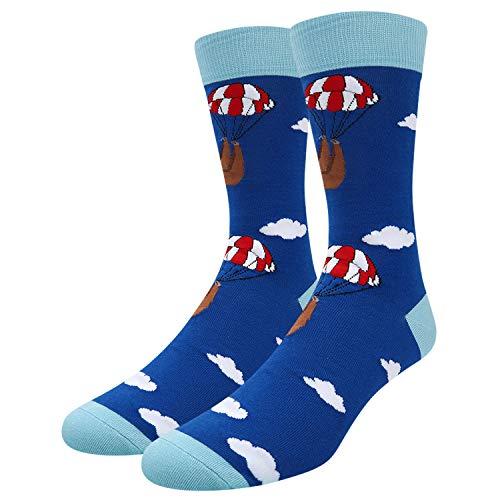 Men's Novelty Funny Cute Animal Crew Socks Crazy Colorful Flamingo Cat Duck Cotton Socks (parachute-sloth) -
