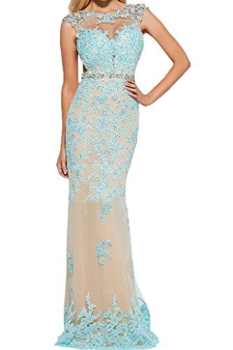 Rueckenfrei Abendkleid Ivydressing Festkleid Promkleid Damen Rundkragen Blau Spitze Applikation Partykleid Fashion nUqfxX