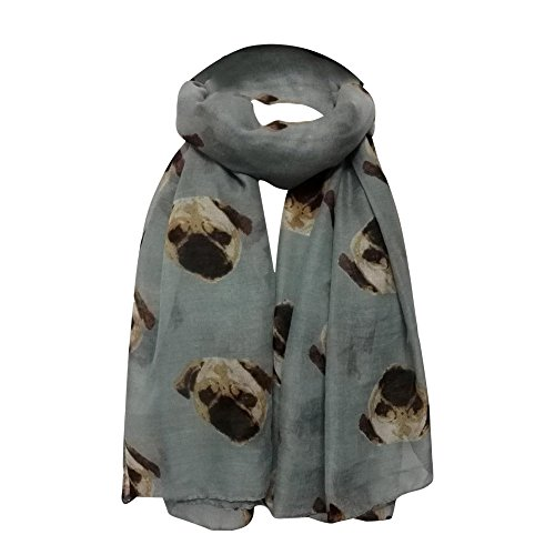 Maonet Cute Lady Womens Lightweight Long Cute Pug Dog Print Scarf Wraps Shawl Soft Scarves (Gray) ()